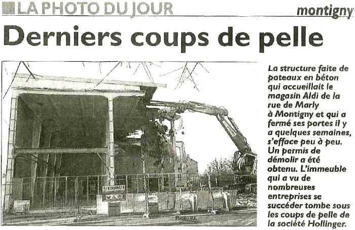 Démolition d'une surface commerciale à Montigny les Metz – Article du Républicain Lorrain 17 Décembre 2015
