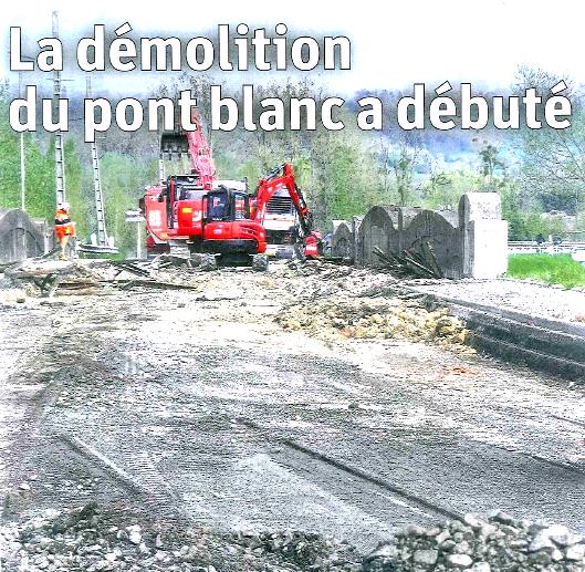 Lunéville : Démolition du pont blanc.