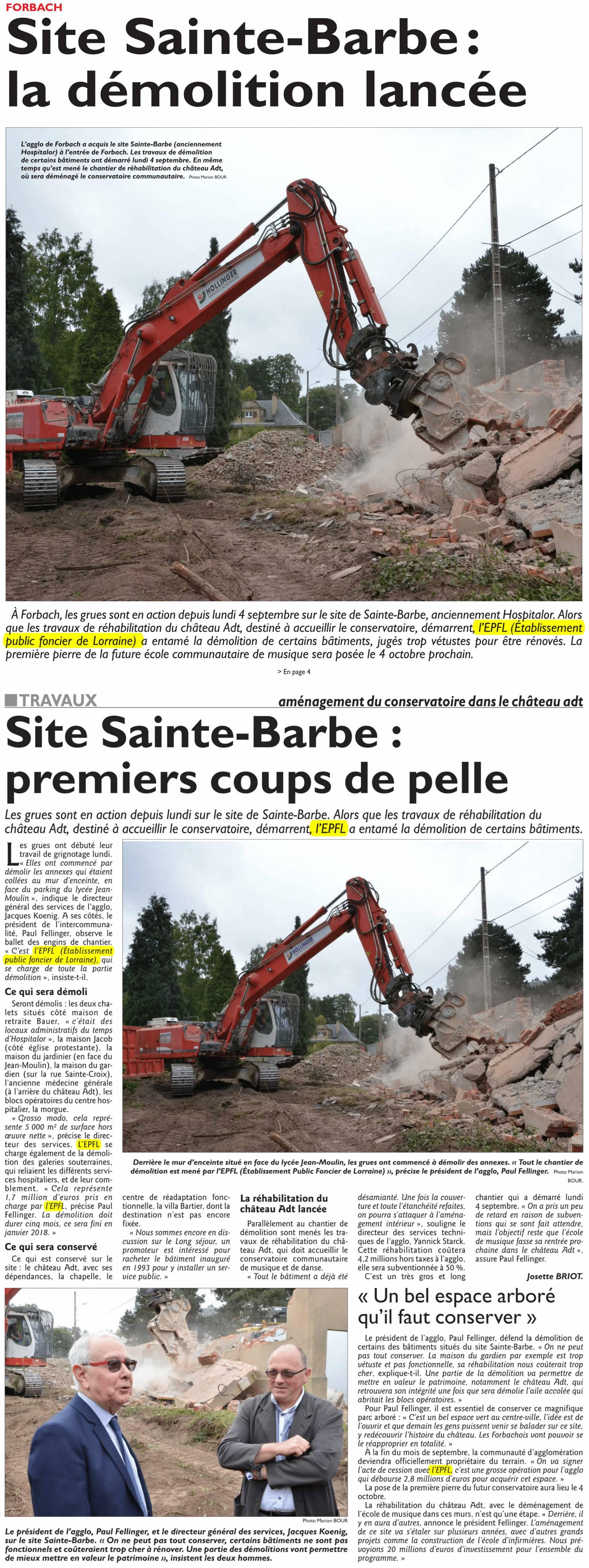 Site Sainte-Barbe : la démolition lancée
